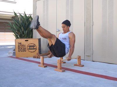 V sit on parallettes - The Body Dojo